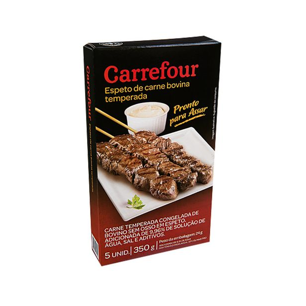 Oferta de Espeto de Carne Bovina Temperada Carrefour 350g 5 Unidades por R$15,85