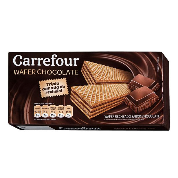 Oferta de Wafer Chocolate Carrefour Triplo 165g por R$1,99
