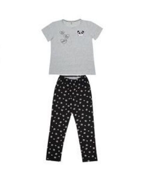 Oferta de Pijama Feminino Manga Curta Com Calça - Panda por R$59,99