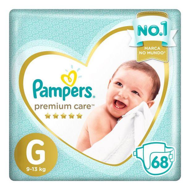 Oferta de Fralda Pampers Premium Care G 68 unidades por R$82,49