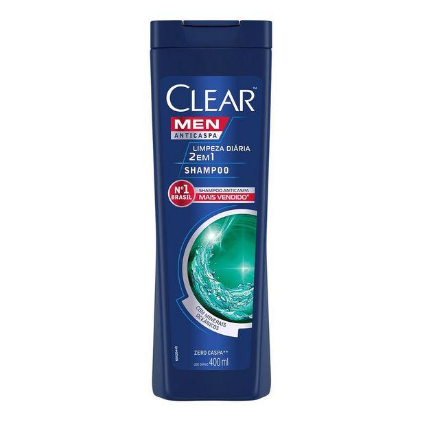 Oferta de Shampoo Anticaspa Clear Men Limpeza Diária 2 em 1 400ml por R$17,18