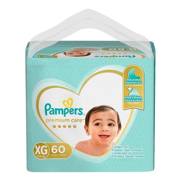 Oferta de Fralda Pampers Premium Care XG 60 unidades por R$103,9