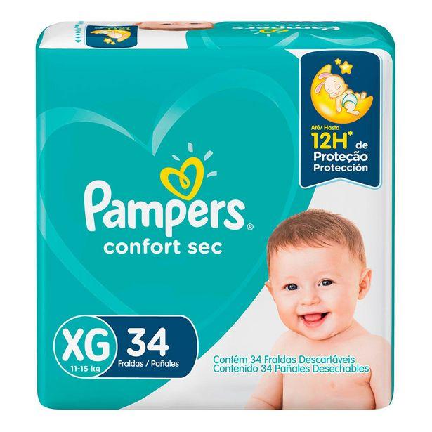 Oferta de Fralda Pampers Confort Sec XG 34 Unidades por R$42,99