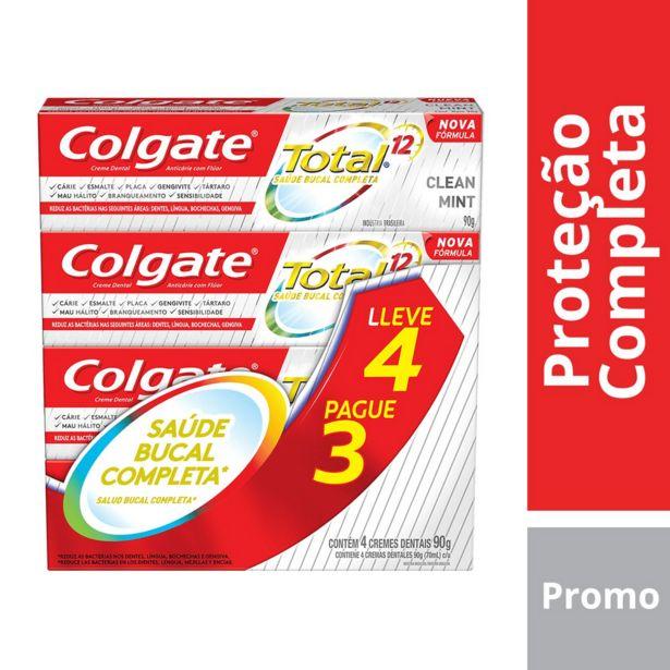 Oferta de Kit Creme Dental Colgate Total 12 Clean Mint 90g 4 Unidades por R$16,9
