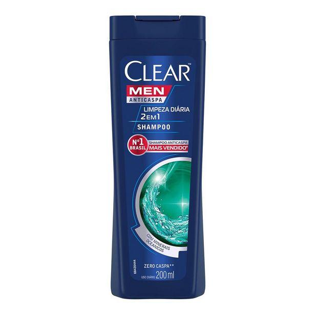 Oferta de Shampoo Anticaspa Clear Men Limpeza Diária 2 em 1 200ml por R$11,38