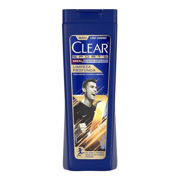 Oferta de Shampoo Anticaspa Clear Men Sports Limpeza Profunda 400ml por R$17,18