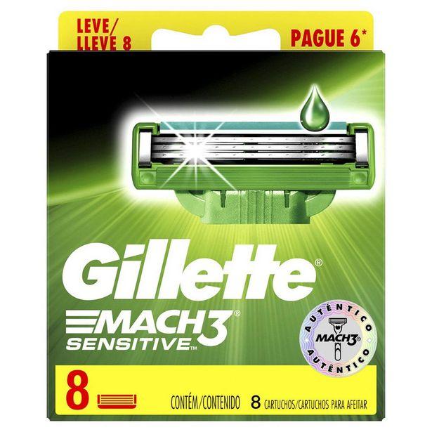 Oferta de Carga Gillette Mach3 Sensitive 8 Unidades por R$49,99