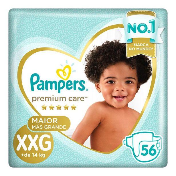 Oferta de Fralda Pampers Premium Care Jumbo XXG 56 Unidades por R$82,49