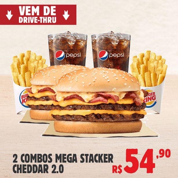 Oferta de 2 Combos Mega Stacker Cheddar 2.0 por R$54,9
