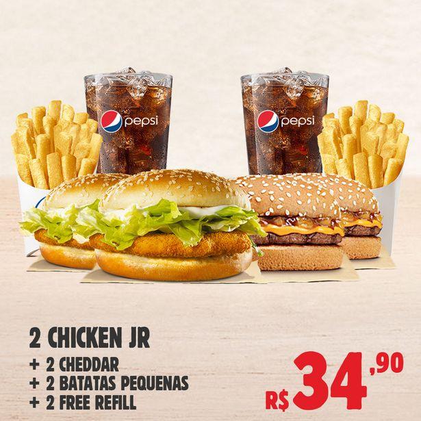 Oferta de 2 Chicken Jr. + 2 Cheddar + 2 Batatas Pequenas + 2 Free Refill por R$34,9