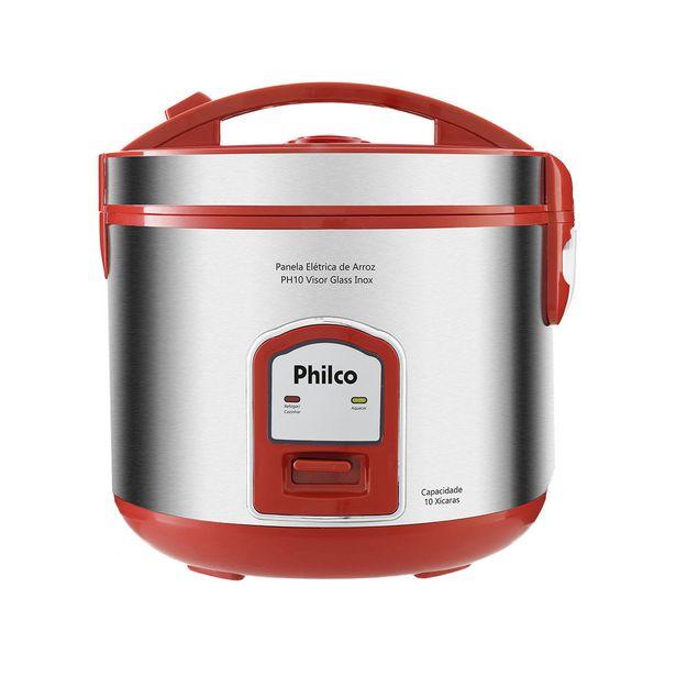 Oferta de Panela Elétrica de Arroz Philco 10 Xíc. PH10V VISOR GLASS Vermelho e Prata 220V por R$129,99