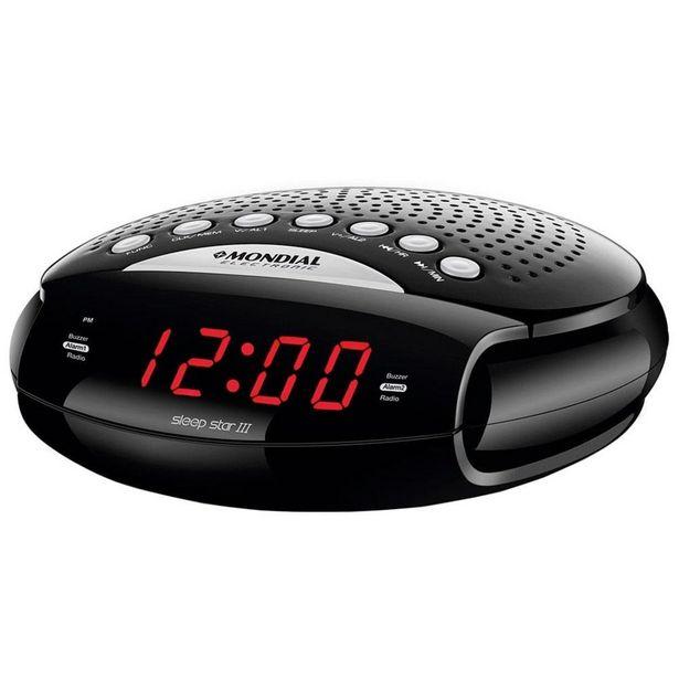 Oferta de Rádio Portátil Mondial Sleep Star III, Rádio AM/FM, Funções Relógio e Alarme, 5W por R$99