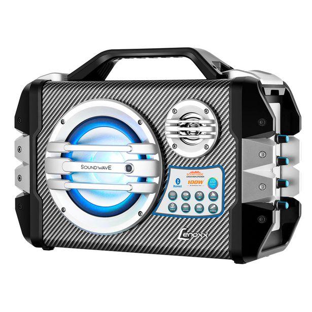 Oferta de Caixa Amplificada com Bluetooth FM Karaokê Microfone Potência 100W RMS Entradas USB e SD Lenoxx CA305 ¿ Preta/Azul Lenoxx por R$393,9