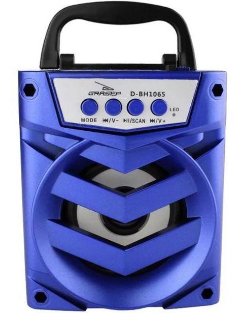 Oferta de Caixa de Som Recarregável 8W Bluetooth Portátil Usb Cartão Sd D-BH1065 Azul por R$179,9