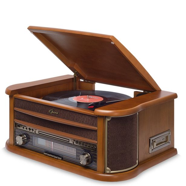Oferta de Vitrola Raveo Ópera BT - Toca-Discos, CD Player, Bluetooth, Radio FM, Fita Cassete Bivolt por R$2499