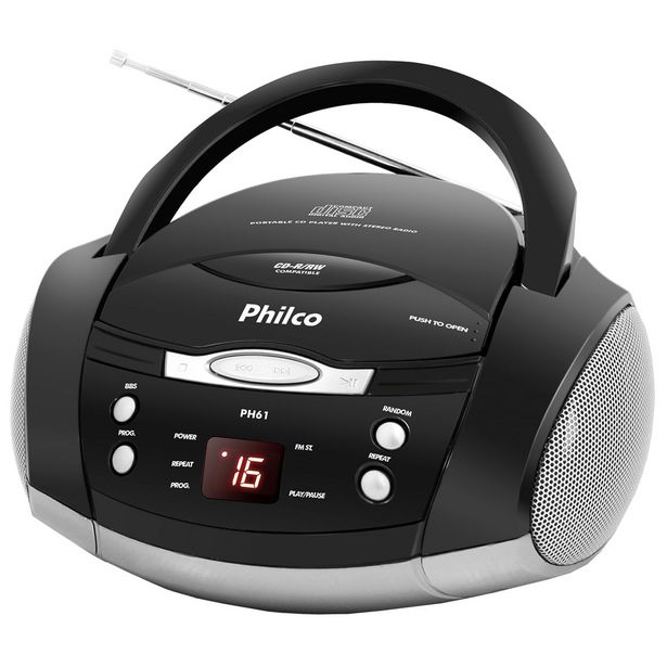 Oferta de Som Portátil Philco PH61 Rádio CD Player MP3 Display Digital Antena Telescópica Reforço de Graves por R$391,79