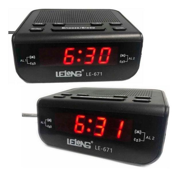 Oferta de Rádio relógio digital com alarme duplo Lelong 671 por R$79,9