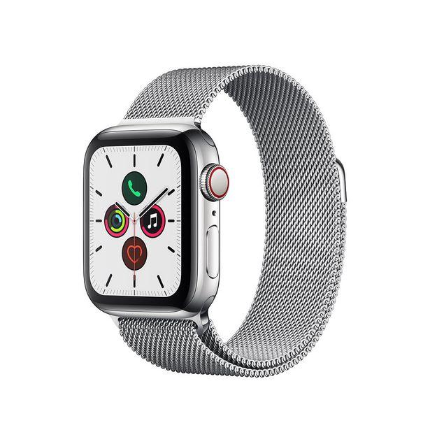 Oferta de Apple Watch Series 5 (GPS + Cellular) - 40mm - Caixa de Aço Inoxidável com Pulseira Estilo Milanês por R$4999