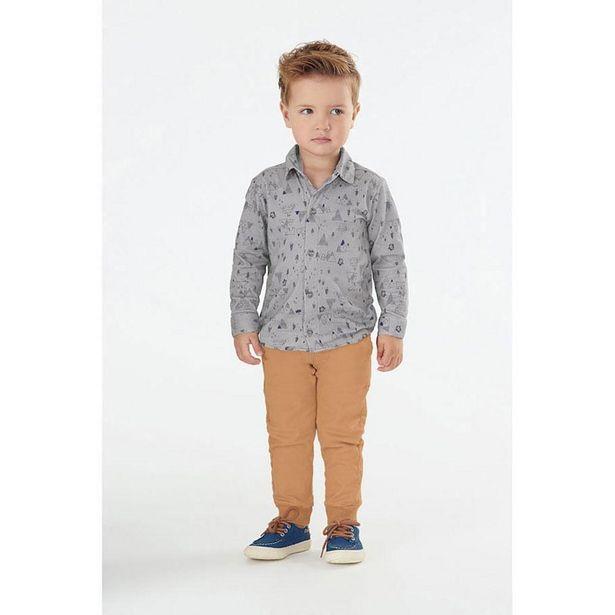 Oferta de Conjunto Infantil - Camisa e Calça - Algodão e Elastano - Camping - Cinza - Malharia Cristina - 1 por R$149,99