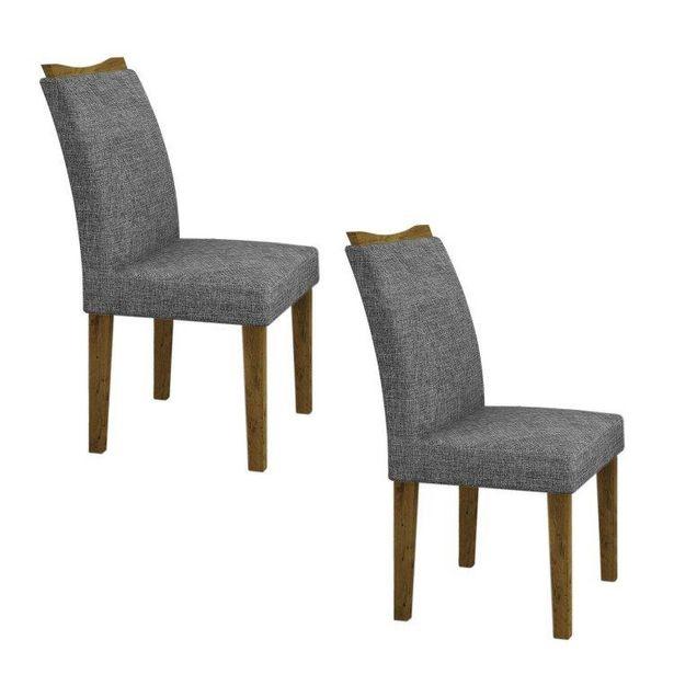 Oferta de Conjunto 2 Cadeiras Estofadas Pampulha Leifer Canela/Linho Cinza por R$408,85