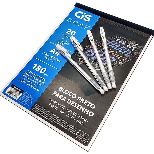 Oferta de 4 Canetas Gel Signo Angelic Colour Bloco Preto CiS Graf por R$78,86