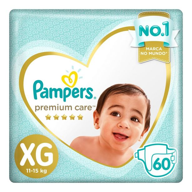 Oferta de Fralda PAMPERS Premium Care XG 60 unidades por R$109,99