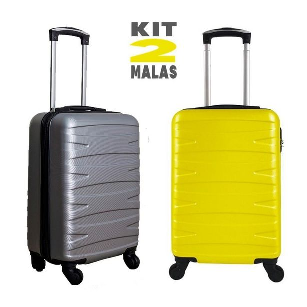 Oferta de Kit c/ 2 Malas de Bordo Stile 18´´ - Cinza e Amarela por R$499