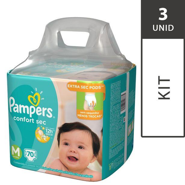 Oferta de Kit com 3 Fraldas PAMPERS Confort Sec M Super Pack - 210 Fraldas  por R$194,7