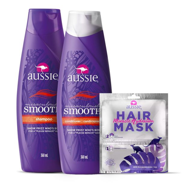Oferta de Kit Aussie Smooth Shampoo 360ml + Condicionador 360ml + Hair Mask Hidratação por R$127,47