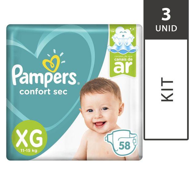 Oferta de Kit com 3 Fraldas PAMPERS Confort Sec XG Pacote 58 Unidades Cada por R$194,7