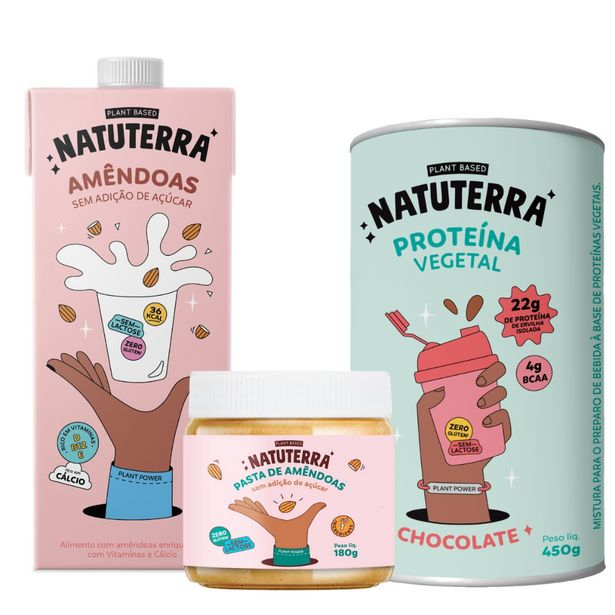 Oferta de Leite de Amêndoas sem açúcar Natuterra 1 Litro - 3 unidades + Pasta de amêndoas Natuterra 180 g - 1 unidade e Proteína vegetal Sabor Chocolate Natuterra 450 g - 1 unidade. por R$198,99