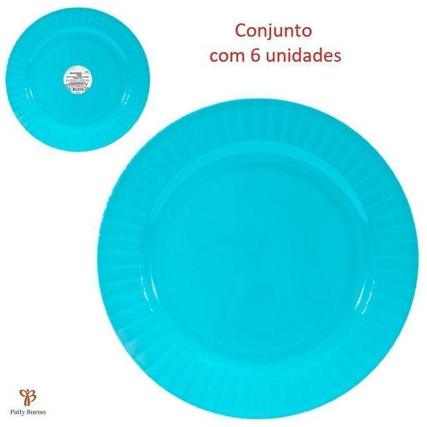 Oferta de 6 PRATOS FUNDOS REDONDO EM MELAMINA PLÁSTICO RESISTENTE DE 25 CM COLOR - Azul por R$58,9