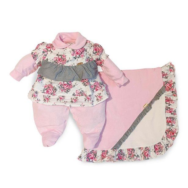Oferta de Saída Maternidade Menina Rosa Floral - Maxibaby - Rosa - RN por R$99