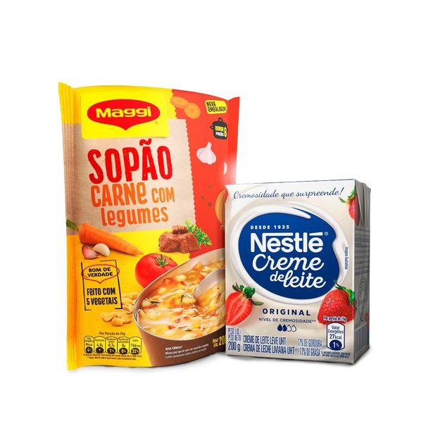 Oferta de Kit MAGGI Sopão Carne com Legumes Sachê 200g + Creme de Leite Leve NESTLÉ Tradicional 200g por R$8,22