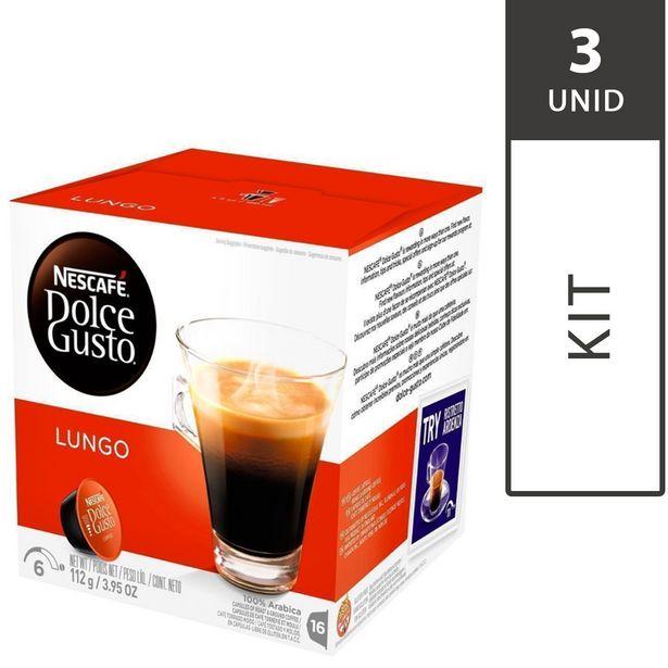 Oferta de Kit com 3 Caixas de Cápsulas de Café Nescafé DOLCE GUSTO Caffé Lungo com 16 Unid, Cada - Nestlé por R$70,47