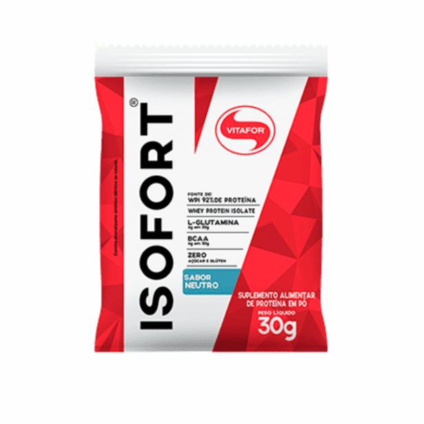 Oferta de Isofort Whey Protein Isolado Sabor Neutro Vitafor 30g por R$16,08