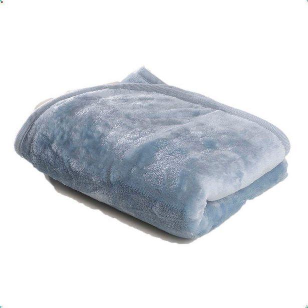 Oferta de Cobertor para Berço Liso Flannel Super Macio 300g/m² Azul por R$69,9