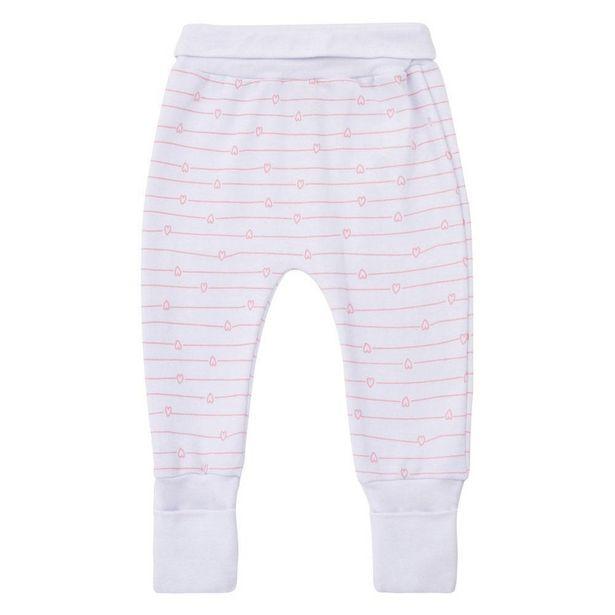 Oferta de Calça Estampada - Meia Malha - Algodão - Branca - Minimi - M por R$39,99