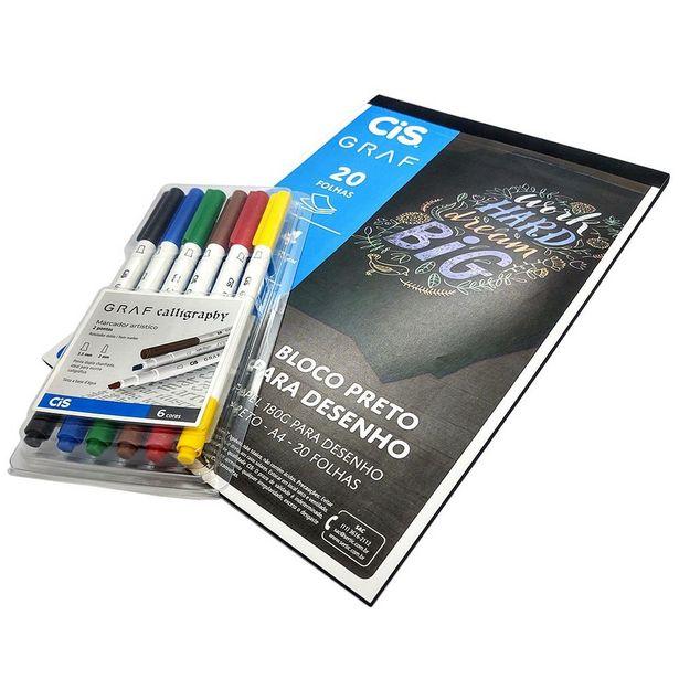 Oferta de Bloco Preto Desenho + Marcador Artístic Calligraphy CiS Graf por R$134,94