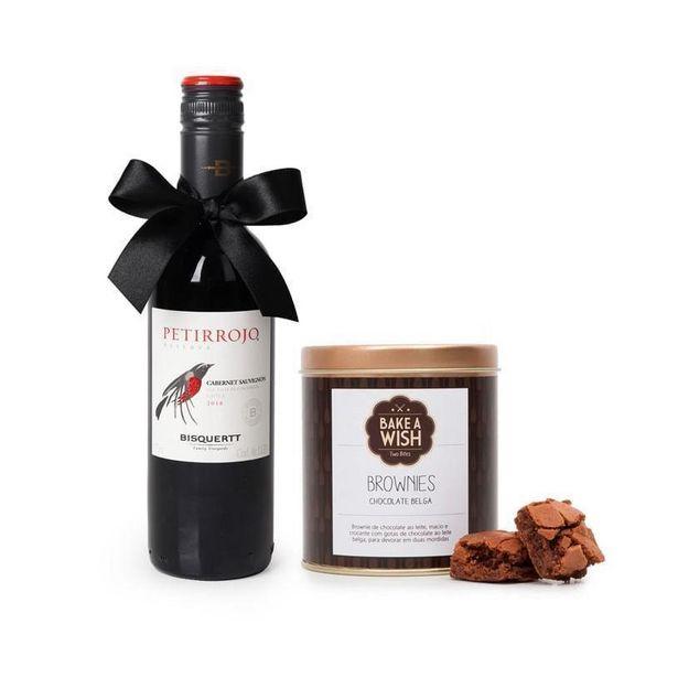 Oferta de Vinho Tinto Petirrojo 375ml + Bake a Wish Brownies Lata por R$127,5