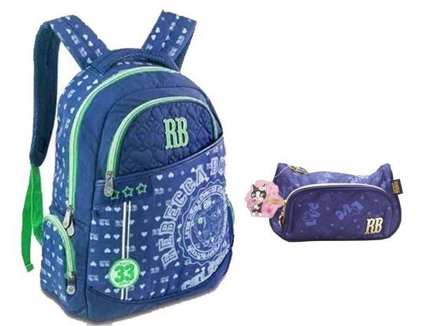 Oferta de Kit Mochila Escolar + Estojo RB7182 Rebecca Bonbon - Azul por R$219,99
