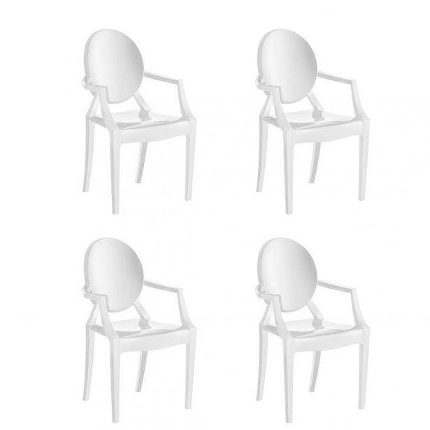 Oferta de Conjunto 4 Cadeiras Wind Plus UZ Kappesberg Branco por R$877,07