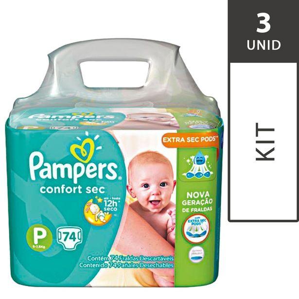 Oferta de Kit com 3 Fraldas PAMPERS Total Confort Sec P Super Pack -  222 Fraldas por R$194,7
