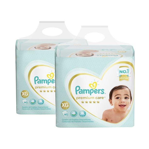 Oferta de Kit de Fraldas Pampers Premium Care Jumbo XG 120 Unidades por R$219,98