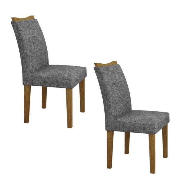 Oferta de Conjunto 2 Cadeiras Estofadas Pampulha Leifer Imbuia/Linho Cinza por R$429,82