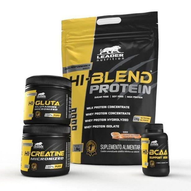Oferta de Kit Hi-Blend Protein 1,8kg + Hi-BCAA Support 1500 60 tabs + Hi-Creatina 150gr + Hi-Glutamine 150gr - Leader Nutrition(1 por R$187,3