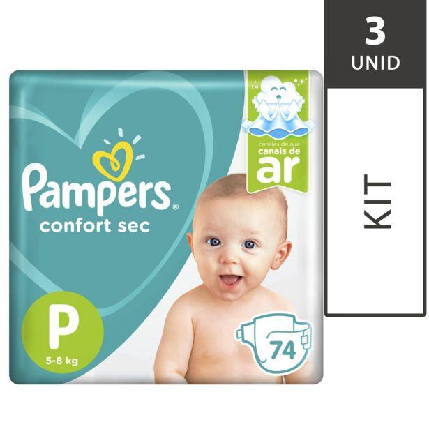 Oferta de Kit com 3 Fraldas PAMPERS Confort Sec P Super Pack - 74 Unidades Cada por R$194,7