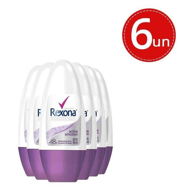 Oferta de Kit Desodorante Roll On Rexona Active Emotion 50ml - 6 Unidades por R$59,9