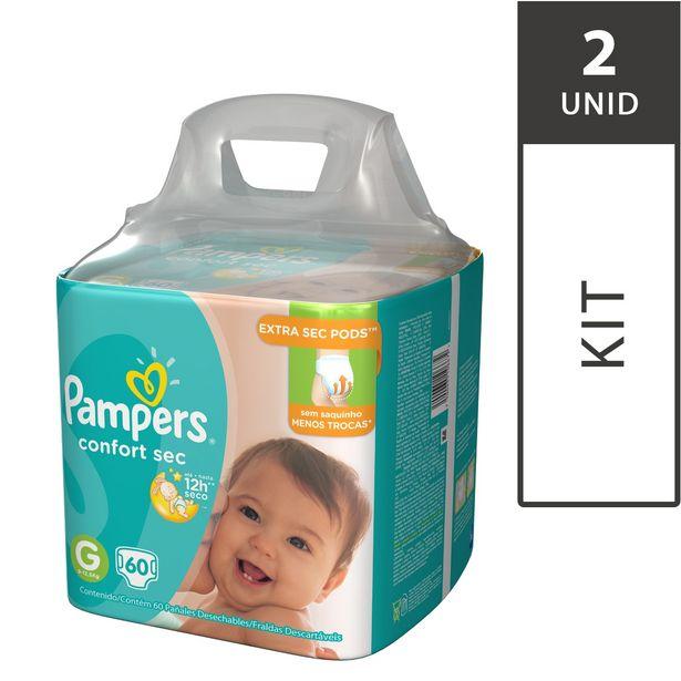 Oferta de Kit com 2 Fraldas PAMPERS Confort Sec G Super Pack - 120 Fraldas por R$129,8