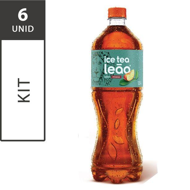 Oferta de Kit com 6 Ice Tea Leão Pêssego PET 1,5L Cada por R$29,4